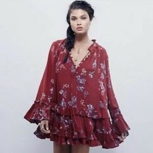 Free People Clover Field in Maroon - Small